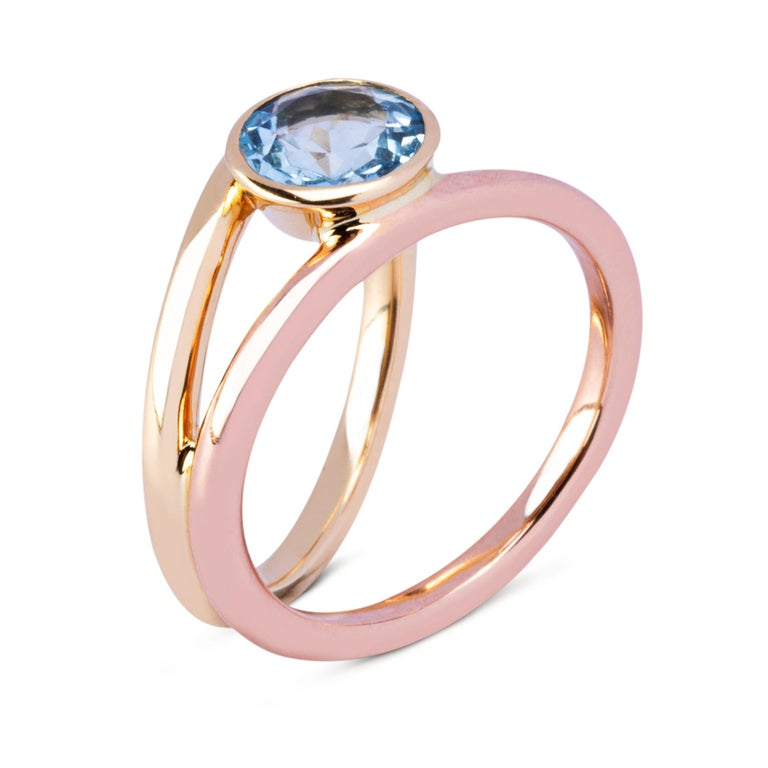 Round Cut Alex Jona Aquamarine Rose & Yellow Gold Solitaire Ring For Sale