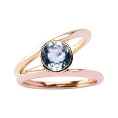 Alex Jona Aquamarine Rose & Yellow Gold Solitaire Ring
