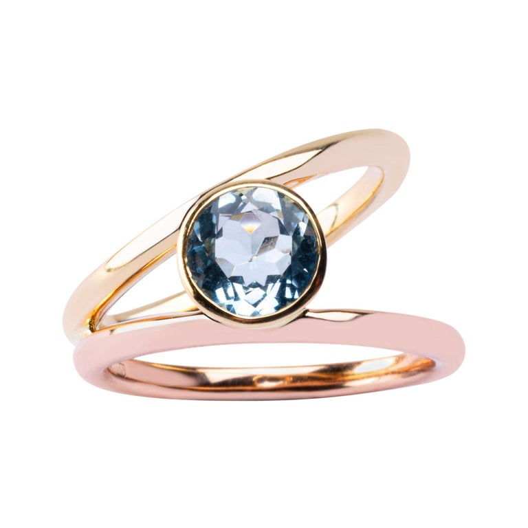 Alex Jona Aquamarine Rose & Yellow Gold Solitaire Ring For Sale