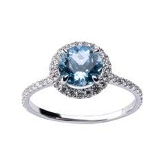 Alex Jona Aquamarine White Diamond White Gold Halo Ring