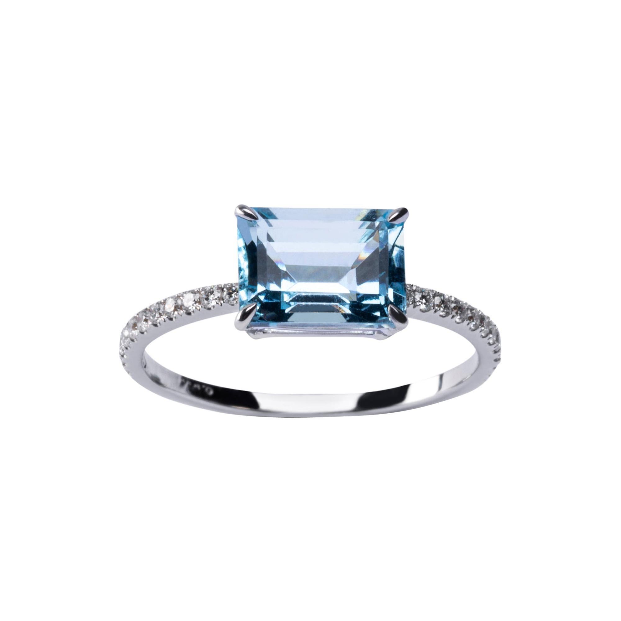 Alex Jona Aquamarine White Diamond White Gold Solitaire Ring