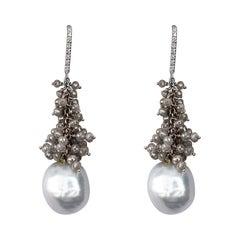 Alex Jona Baroque Tahiti Pearl Ice Diamond 18 Karat White Gold Dangle Earrings