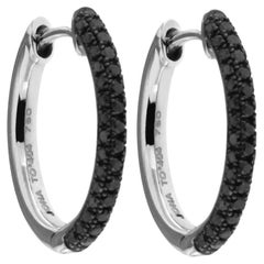 Alex Jona Black Diamond 18 Karat White Gold Hoop Earrings
