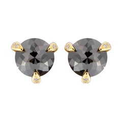 Alex Jona Black Diamond White Diamond 18 Karat Yellow Gold Stud Earrings