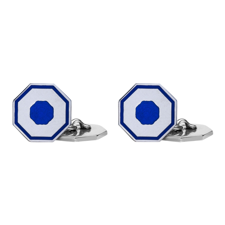 Alex Jona Blue Enamel Sterling Silver Cufflinks