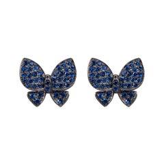 Alex Jona Blue Sapphire 18 Karat White Gold Butterfly Earrings