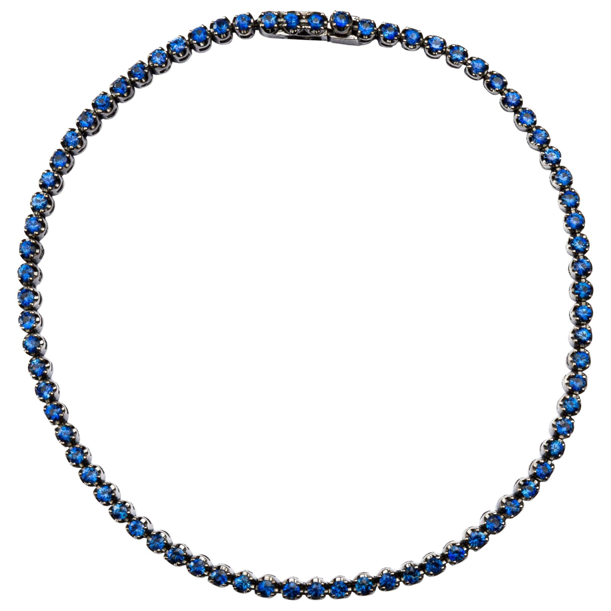 Alex Jona Blue Sapphire 18 Karat White Gold Tennis Bracelet