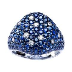 Alex Jona Blue Sapphire White Diamond 18 Karat White Gold Signet Ring