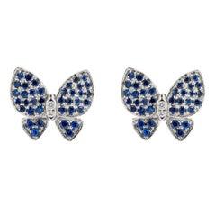 Alex Jona Blue Sapphire White Diamond 18karat White Gold Butterfly Stud Earrings