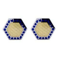 Alex Jona Blue Yellow Enamel Sterling Silver Cufflinks