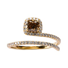 Alex Jona Brown and White Diamond 18 Karat Yellow Gold Coil Halo Ring