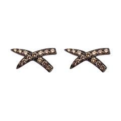 "Alex Jona Brown Diamond Black Rhodium White Gold ""X"" Design Stud Earrings"