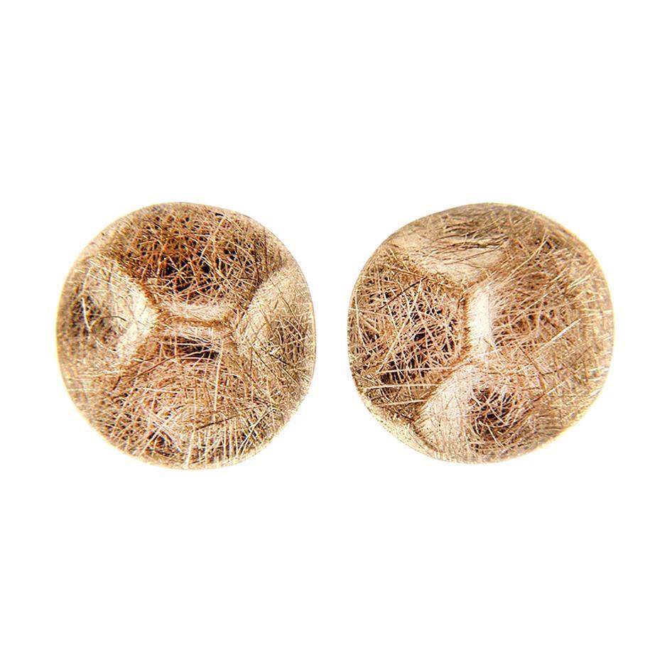 Alex Jona Brushed 18 Karat Rose Gold Stud Earrings