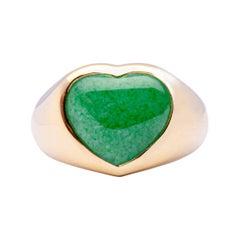 Alex Jona Burmese Jade Jadeite 18 Karat Yellow Gold Heart Band Ring