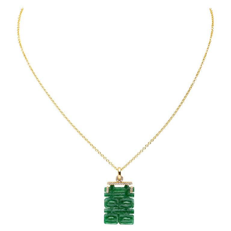 Alex Jona Burmese Jade White Diamond Yellow Gold Pendant Necklace