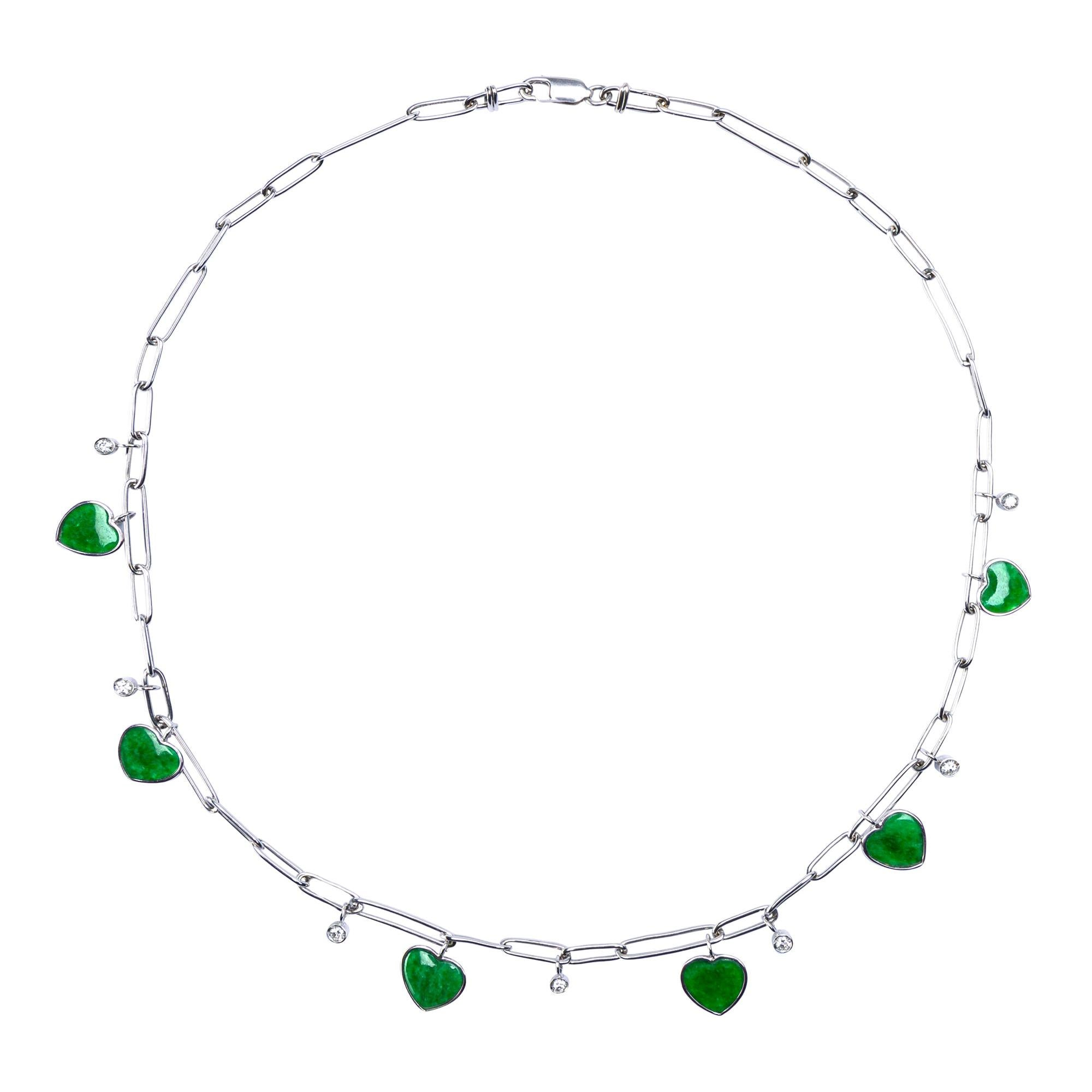 Alex Jona Burmese Jadeite Jade Heart Diamond White Gold Necklace