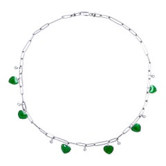 Alex Jona Burmese Jadeite Jade Heart Diamond White Gold Necklace