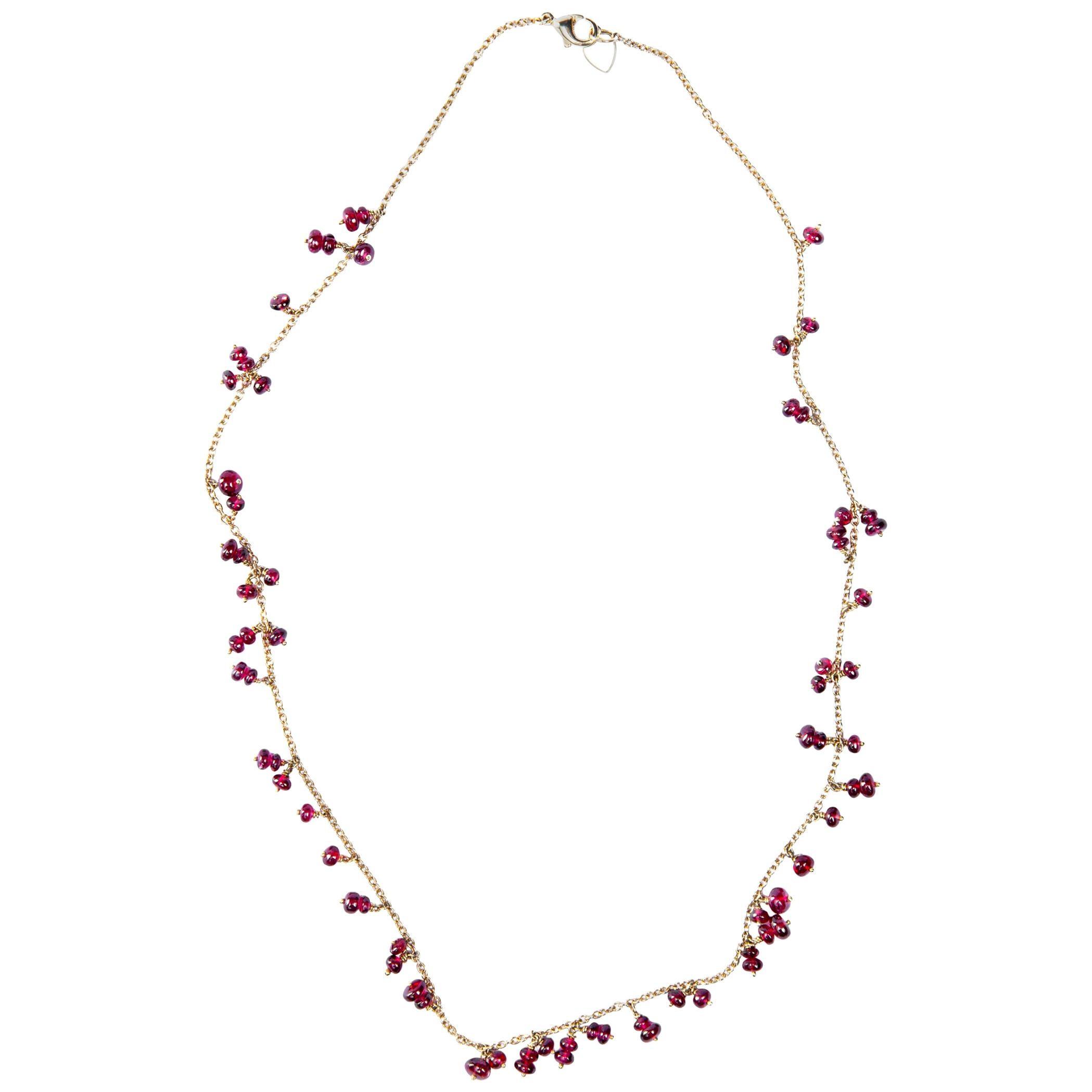 Alex Jona Burmese Red Spinel 18 Karat Yellow Gold Necklace