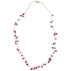 Alex Jona Burmese Red Spinel 18 Karat Yellow Gold Necklace