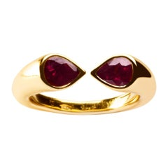 Alex Jona Burmese Ruby Yellow Gold Band Ring