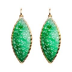 Alex Jona Carved Burmese Jadeite Jade Yellow Gold Pendant Earrings