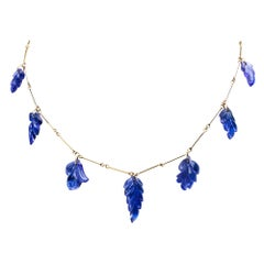 Alex Jona Carved Tanzanite Leaves Yellow Gold Link Necklace
