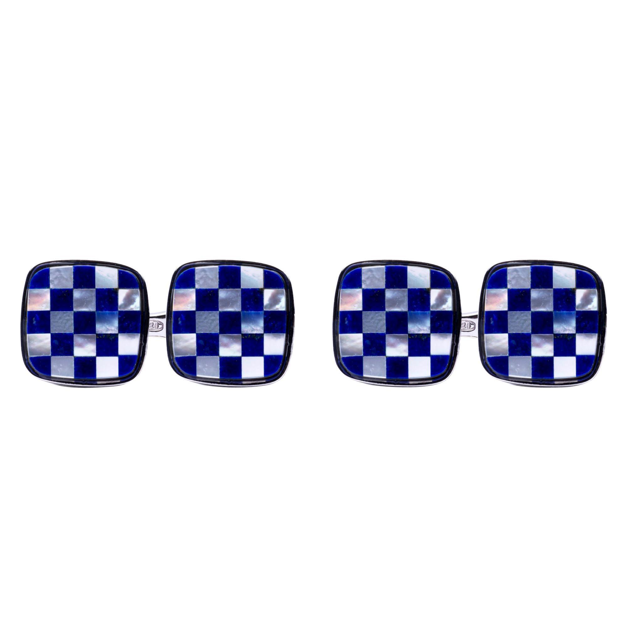 Alex Jona Chequer Lapis Lazuli Sterling Silver Cufflinks