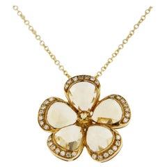Alex Jona Citrine White Diamond 18 Karat Yellow Gold Flower Pendant Necklace