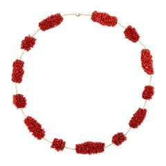Alex Jona Coral Pompon 18 Karat Yellow Gold Necklace
