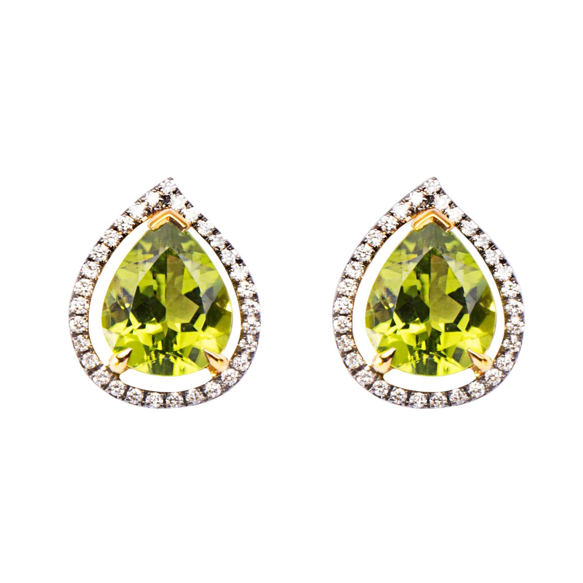 Alex Jona Drop Peridot White Diamond Yellow Gold Stud Earrings