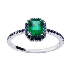 Alex Jona Emerald Blue Sapphire White Gold Solitaire Halo Ring