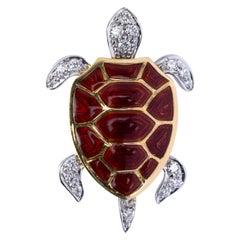 Alex Jona Enamel Diamond 18 Karat White and Yellow Gold Turtle Brooch