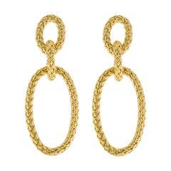 Alex Jona Gold-Plated Sterling Silver Basket Weave Pendant Earrings