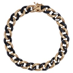 Alex Jona High-Tech Black Ceramic 18 Karat Yellow Gold Curb-Link Bracelet