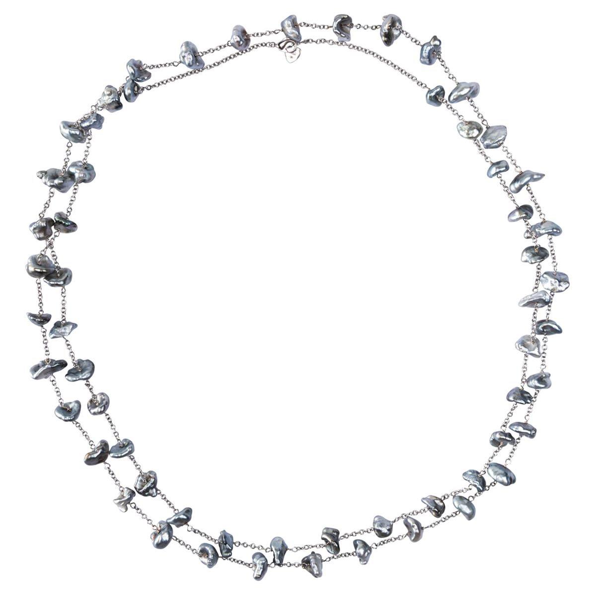 Alex Jona Keshi Grey Pearl 18 Karat White Gold Long Chain Necklace