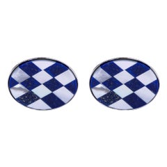 Alex Jona Lapis Lazuli Oval Sterling Silver Cufflinks