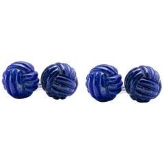 Alex Jona Lapis Lazuli Sterling Silver Knot Cufflinks
