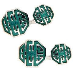 Alex Jona Long and Happy Life Symbol Green Enamel Sterling Silver Cufflinks