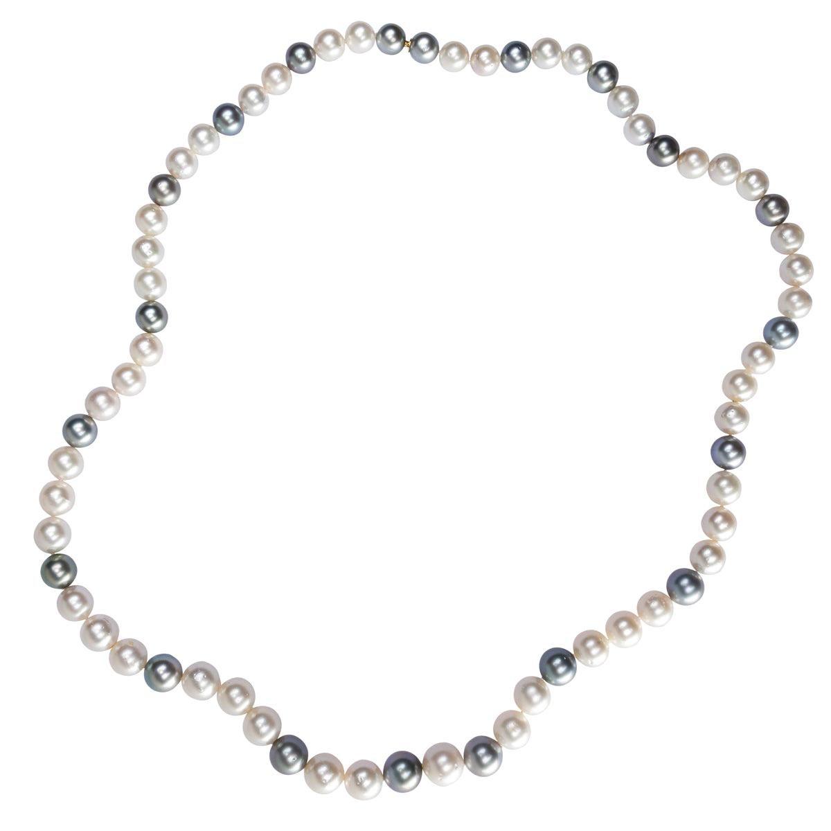 Alex Jona Long South Sea and Tahiti Light Grey Pearl Necklace