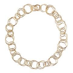 Alex Jona Multiple Interlocking Hoop 18 Karat Yellow Gold Chain Necklace