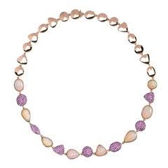 Alex Jona Opal Pink Sapphire 18 Karat Rose Gold Necklace