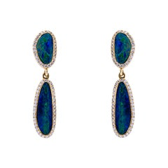 Alex Jona Opal White Diamond Yellow Gold Pendant Earrings