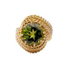 Alex Jona Peridot 18 Karat Yellow Gold Nounou Ring