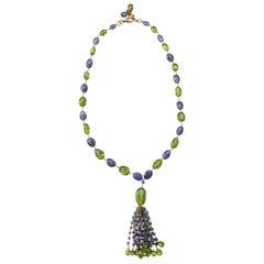 Alex Jona Peridot Iolite 18 Karat Gold Tassel Beaded Necklace