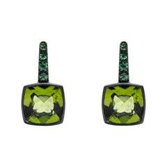 Alex Jona Peridot Tsavorite 18 Karat White Gold Stud Earrings