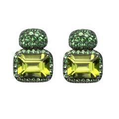 Alex Jona Peridot Tsavorite White Gold Stud Earrings