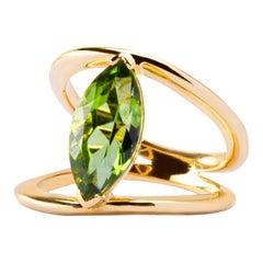 Alex Jona Peridot Yellow Gold Cocktail Ring