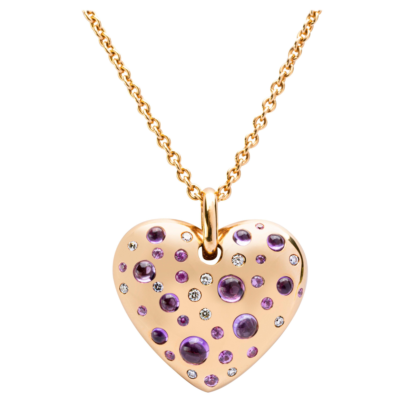 Alex Jona Pink Sapphire Amethyst Diamond Rose Gold Heart Pendant Necklace