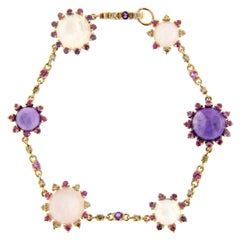 Alex Jona Pink Sapphire Amethyst Moonstone Diamond Gold Link Bracelet