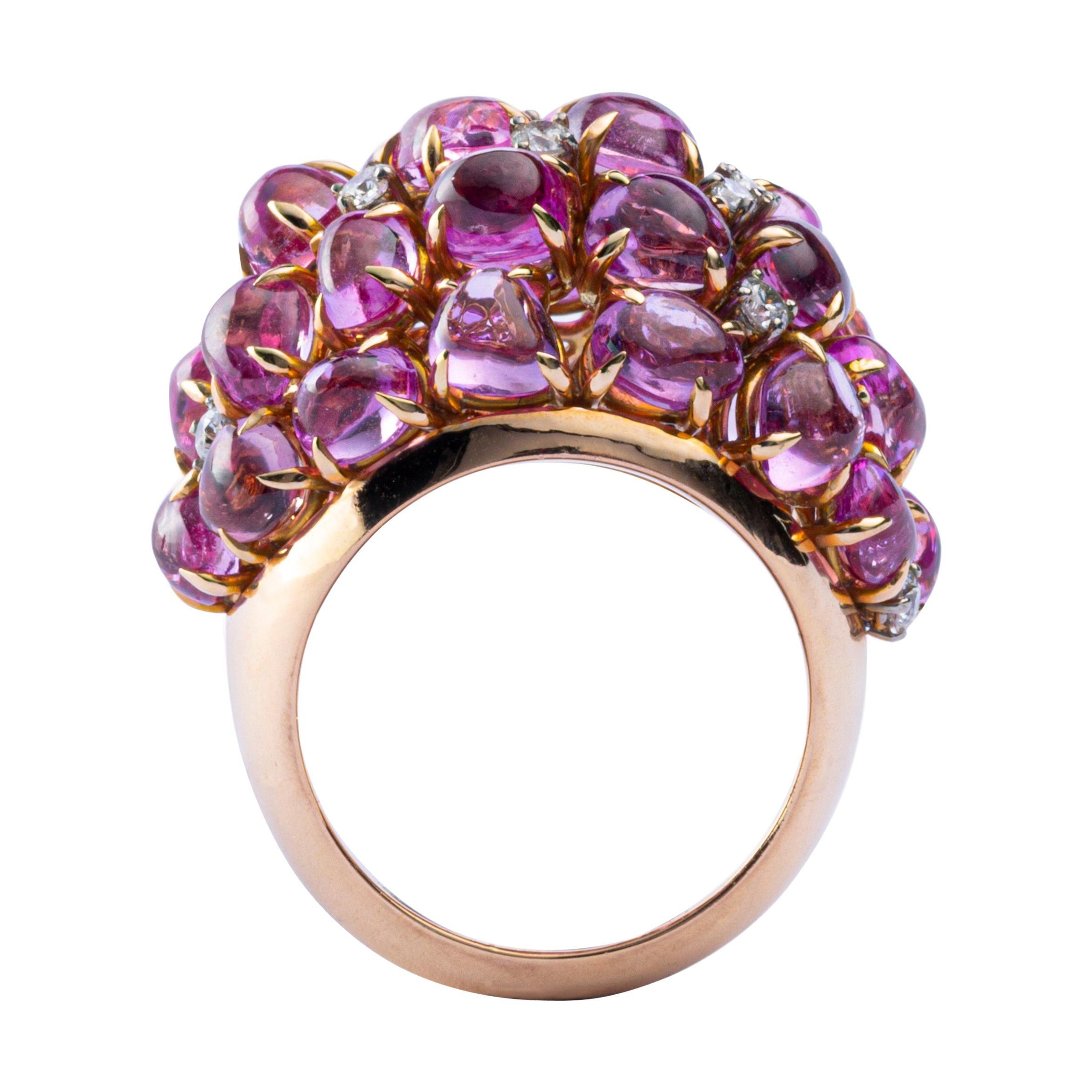 Alex Jona Pink Sapphire Diamond 18 Karat Rose Gold Dome Ring